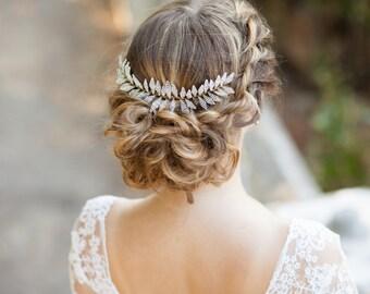 Bridal hair comb Silver leaf hair comb Silver leaf headpiece Silver wedding comb Wedding headpiece Leaf bridal headpiece Grecian hair