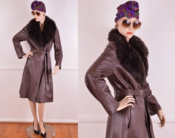70s Chocolate Brown Leather Trench Coat With Fur Colar