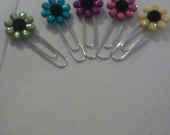 Sparkly Flower Planner Clip, Paperclip, Bookmark