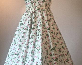 1950's Cotton New Look Rose Bud Print Day Dress | Toby Tyler