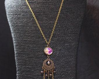 Ethnic hippie bohemian necklace antique bronze chain