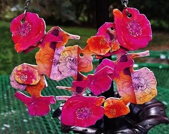 Fuschia Flowers in Bloom Bib Necklace