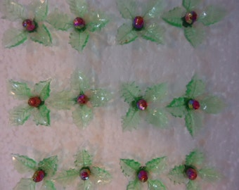 40 Green Holly Leafs With Red Aurora Globe Pins  Ceramic Christmas Tree Lights Bulbs, Pegs