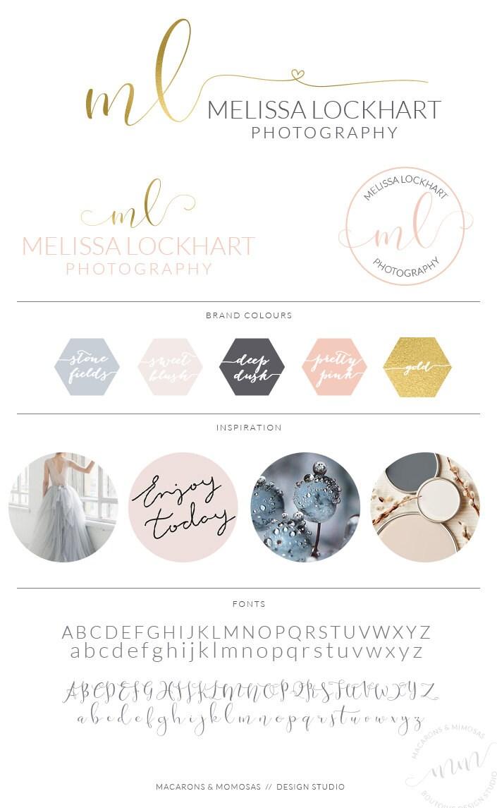 Gold heart logo design custom blush photography