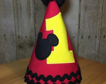 Mickey Mouse Birthday Party Hat - Personalized - number, mickey head, and name (optional)