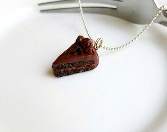 Scented Chocolate Cake Slice with Chocolate Shavings Necklace, Miniature Food Jewelry / Brown Cake Necklace / Chocolate Cake
