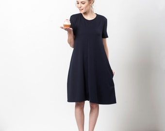 Navy Midi Dress, Blue Summer Dress, Fit And Flare Dress, Dark Blue Dress, Loose Fitting Dress, Navy Dress With Pockets, Blue Day Dress