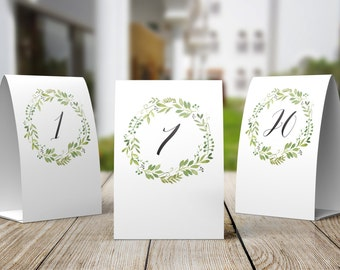 Tent Style Printable Table Number Signs, Set of 20, DIY Table Numbers - 1 to 20 Spring Green Wreath