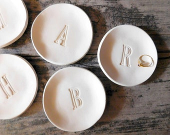 PERSONALIZED RING DISH initial letter ring plate, monogram ring tray, rose gold dish, bachelorette party, bridesmaid gift party favor gift