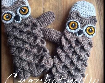 PATTERN PDF---Crochet owl gloves or mittens