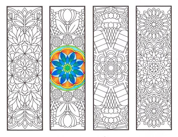 Coloring Bookmarks - Warm Weather Mandalas - coloring page for adults, kids and bookworms - four printable bookmarks to color