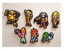 Chrono Trigger Perler, Pixel Art Bead Sprites, Crono, Marle, Lucca, Robo, Frog, Magus, SNES RPG, Ayla, Lavos, CT, Crono Trigger