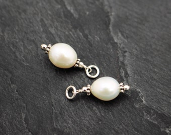Freshwater Pearl Dangles, Set of 2 or 3, Charms, Earring Components, Sterling Silver