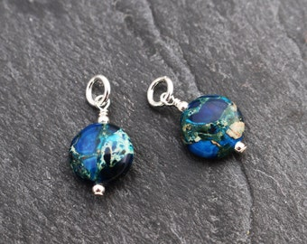 Blue Impression Jasper Coin Charms /Dangles Set of 2 or 3. Earring Components, Sterling Silver
