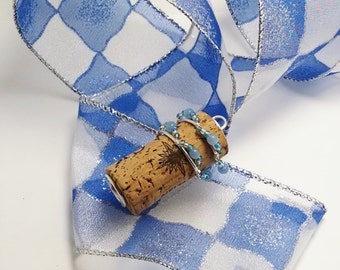 Recycled Wine Cork Pendant, Silver Floral Wire Wrapped Cork, Winter Themed Pendant,  Blue and Silver Cork, Cork Jewelry