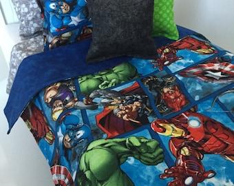 Avengers Bedding. American Boy doll. 18 Inch Doll Bedding