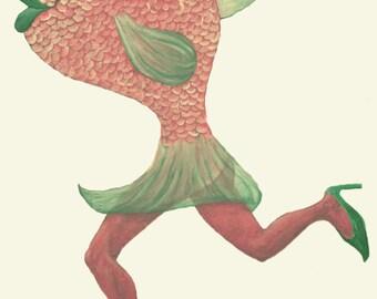 Original Painting Art Print - Lady Fish