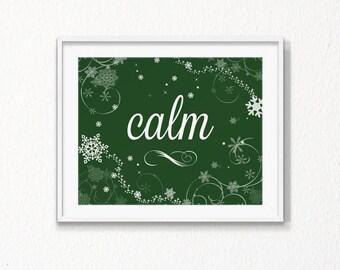 Christmas Printable, Calm, Christmas decor, Instant download, calm Art Print, green, christmas, winter, Home art, Digital file, minimal