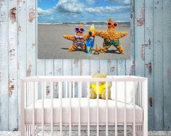Kids Beach Art - Blue - Beach Nursey Art - Starfish Family