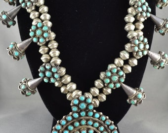 Exquisite Squash Blossom Navajo Sterling Silver and Turquoise Necklace