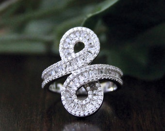 Art Deco Twist Infinity Vintage Art Deco Ring-Baguette Cut Diamond Simulants-Engagement Ring-Promise Ring-Solid Sterling Silver [8751]