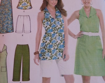 Simplicity 3773 Sewing Pattern, Easy to Sew, Halter Top Ensemble, Pants, Dress, Shorts