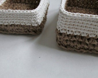Crocheted Jute and Cotton Square Nesting Baskets ∙ Storage Baskets