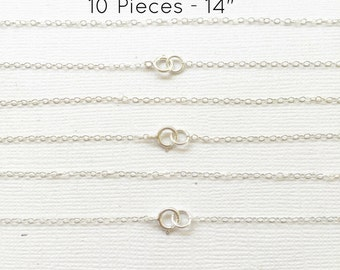 "10pc- 14"" Sterling Silver Chain Finished, Finished Necklace, Flat Cable Chain 1.3mm, 10 Pieces, Wholesale, Silver Chain, Bulk Chain, 14 inch"
