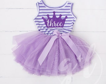 Third Birthday outfit, third birthday dress, purple tutu dress,  purple crown and purple tutu Sofia the first 3rd birthday