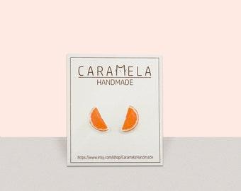 orange slice stud earrings