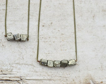 Small Pyrite Rock Necklace Set, Antique Gold Pyrite Nugget Layered Necklace Set, Natural Gemstone Necklace, Boho Chic Jewelry, Rock Necklace