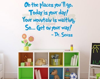 Dr. Seuss Oh the Places You'll Go Removable Vinyl Decal for Kid's Room, Nursery, Playroom, Livingroom