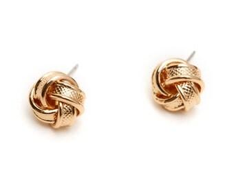 Gold Knot Earrings,  Love Knot Stud Earrings, Bridesmaid Gift Earrings, Tie the Knot Earrings, Bridemaid proposal jewelry