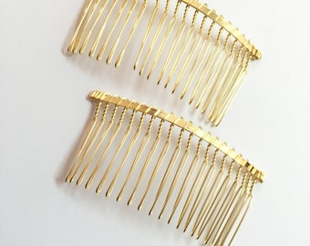 Goldplated Hair Combs 2pcs, 20 teeth gold metal hair combs 37mmx79mm, wire hair combs, head supplies, hair accessories findings, combs gold