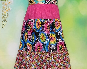 Tie dye dress, girls hippie dress, reverse knot dress, 60's sundress, twirly dress, tiered dress, ready to ship, birthday dress, peace dress