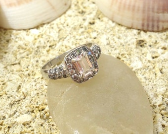 Halo Engagement Ring Wedding Ring Unique Engagement Ring Diamond Ring Morganite Engagement Ring Pave Diamonds Solid Gold Vintage Engagement