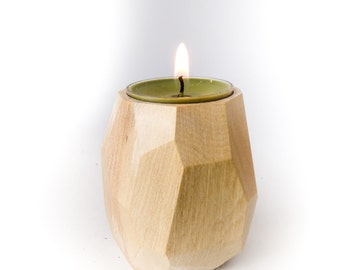 Wood Tea Light Candleholder, Faceted and Geometric - Maple Hardwood