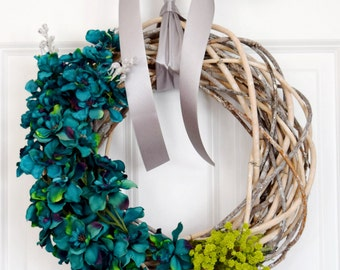 Teal Floral Wreath | Front Door Wreath | Spring Wreath | Summer Wreath | Personalized Initial Wreath