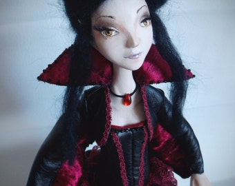 SALE! Vampire girl, art doll, gothic, ooak art doll, halloween, clay doll, ooak gothic doll, collectible doll, home decor, gothic doll
