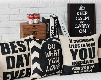Black and white Writing Throw Pillow, Decorative Pillow Cover, Cushion Cover, Bedroom Decor, Sofa Pillow Case, Accent Pillow Living Room