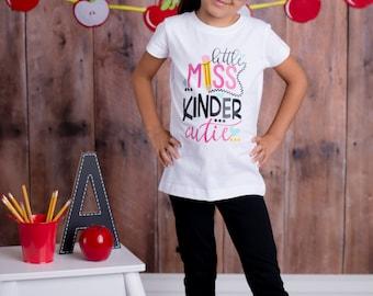Little Miss Kinder Cutie Shirt - (0-24 months) (2T-12) - kindergarten shirt, back to school shirt, first day of kindergarten shirt, school