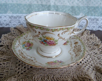 "Royal Albert ""Damask"" - Vintage Tea Cup and Saucer - Brown Scroll, Floral, Green Raindrops"