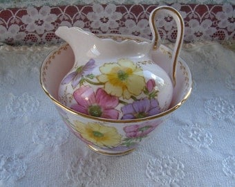 Tuscan Fine English Bone China - Vintage Creamer and Sugar Bowl Set - Pink, Yellow and Purple Flowers on a Pink