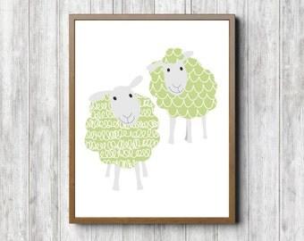 Nursery Printable Wall Art - Sheep Boys /Girls Room Poster - Lime Green Wall Decor - Whimsical Farm Animal Art - Cute Sheep Print