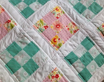 Turqouise and Pink, Flowers and Patterned Baby Girl Quilt