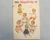Sewing Pattern, Baby Doll Wardrobe Clothing, Simplicity #7970, 1968, Dresses, Playsuit