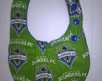 Baby Bib, Infant Bib, Seattle Sounders Baby Bib, Sounders Bib, Blue Bib, Reversible Baby Bib, Sports Baby Bib, Adjustable Baby Bib w/ snaps.