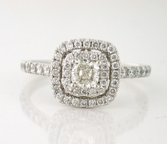 Neil Lane Designer 1.08tcw Diamond Cushion Cut Engagement Ring with Double Frame Halo 14k white gold. Size 9. High quality diamonds.