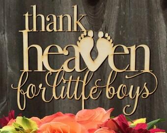 Thank Heaven for little boys Cake Topper, Shower Decor, Baby Shower Cake Topper, Wood Cake Topper