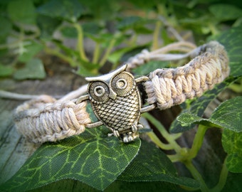 Horizontal Owl Bracelet - Adjustable Hemp Bracelet - Hemp Bird Bracelet